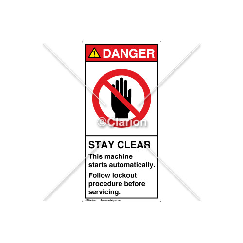 Danger/Stay Clear Label (H6008-44DVPJ)
