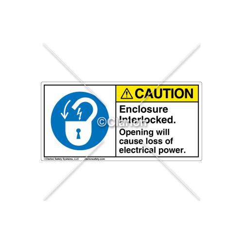 Caution/Enclosure Interlocked Label (H6011-C85CHPJ)