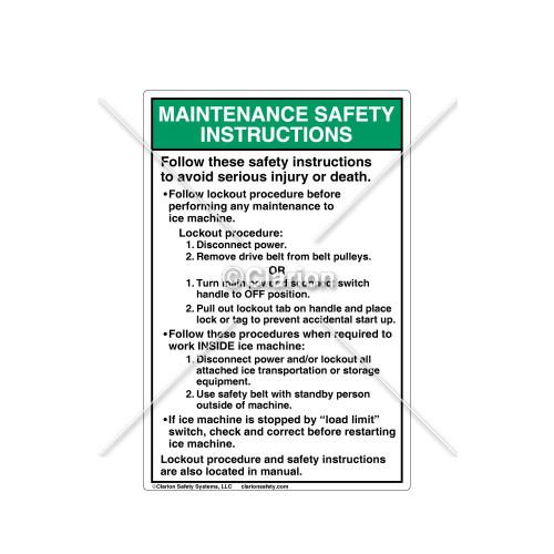 Maintenance Safety Instructions Label (106296)