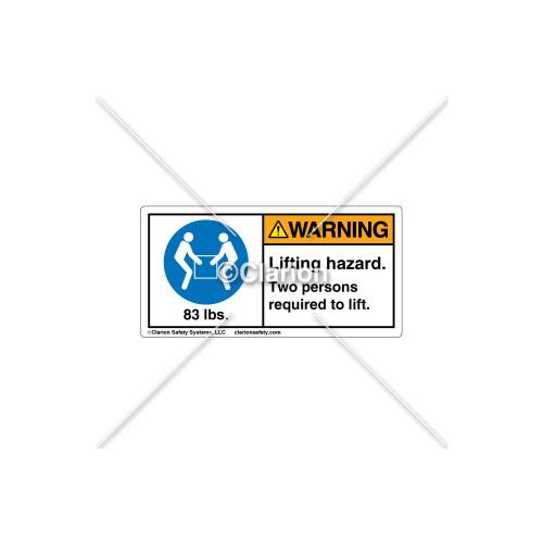 Warning/Lifting Hazard Label (8694-04WHBK)