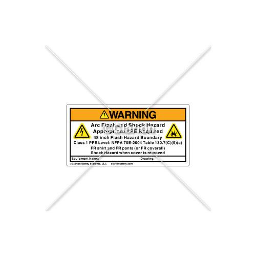 Warning/Arc Flash Label (9011-01WH2K)