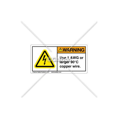 Warning / Use 1 AWG Label (C5758-17)