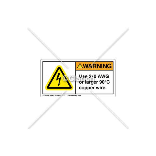 Warning / Use 2/0 AWG Label (C5758-18)