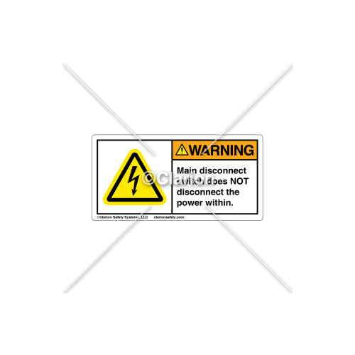 Warning/Main Disconnect Switch Label (C6512-01)