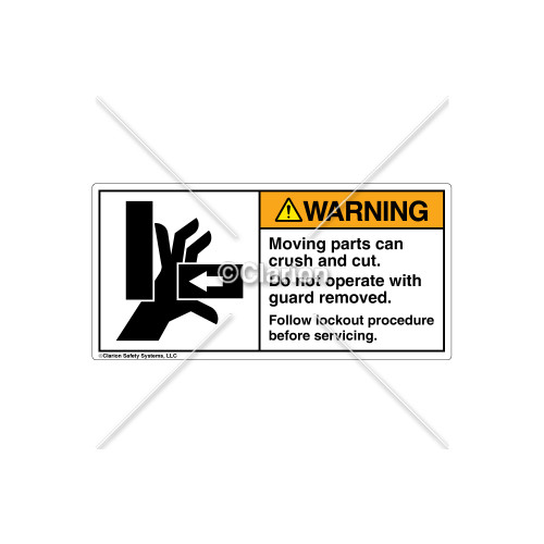 Warning/Moving Parts Can Crush Label (1042-02WHPK Wht)
