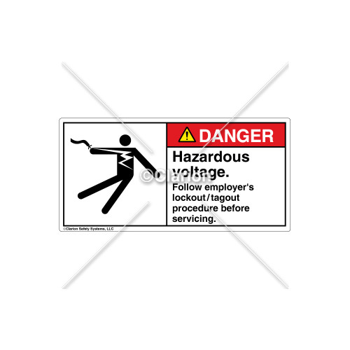 Danger/Hazardous Voltage Label (5025-03DHBK Wht)