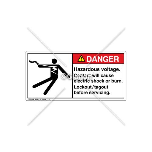 Danger/Hazardous Voltage Label (5025-N5DHBK Wht)