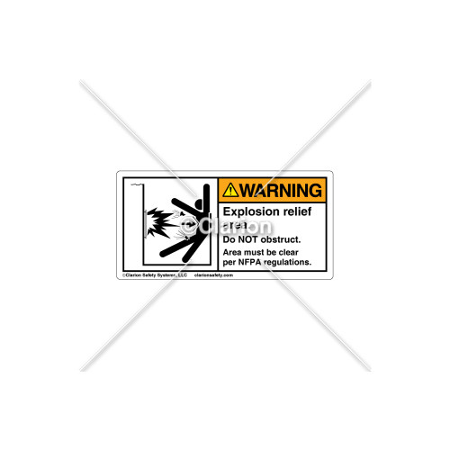 Warning/Explosion Relief Area Label (5029-JZWHPK Wht)