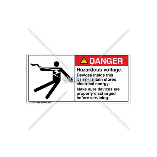 Danger/Hazardous Voltage Label (5025-30DHPK Wht)