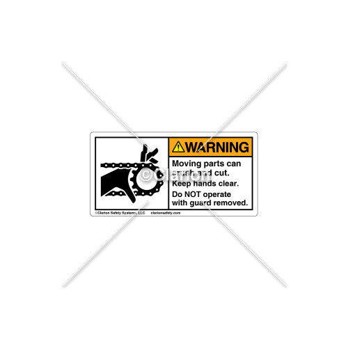 Warning/Moving Parts Can Crush Label (1012-04WHBK Wht)
