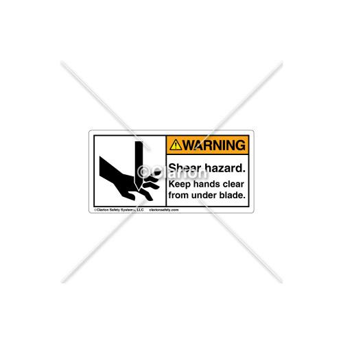 Warning/Shear hazard Label (1001-CVWHPK Wht)
