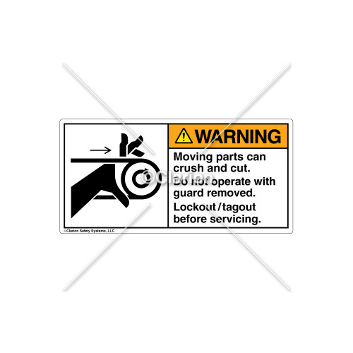 Warning/Moving Parts Can Crush Label (1009-M4WHPK Wht)