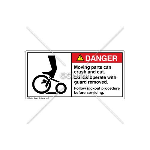 Danger/Moving Parts Can Crush Label (1090-02DHPK Wht)