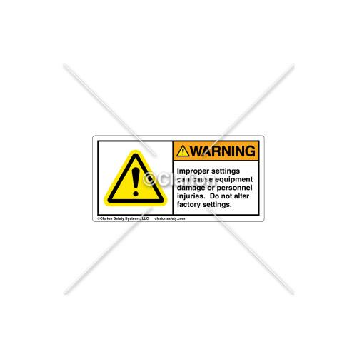 Warning/Improper Settings Label (H6014-384WHBK)