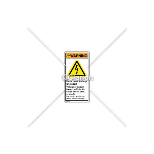 Warning/Hazardous Voltage Enclosed Label (H6010-429WVPL)