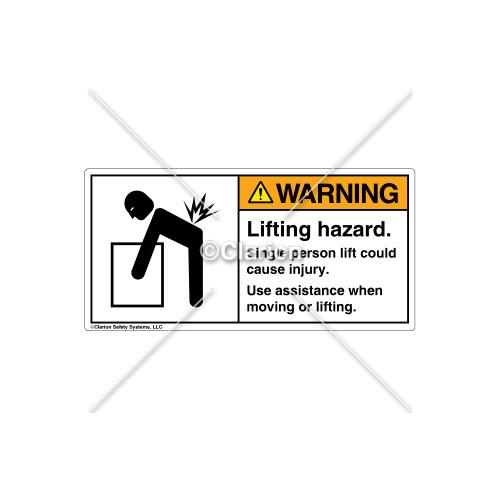Warning/Lifting Hazard Label (5101-H0WHPL Wht)