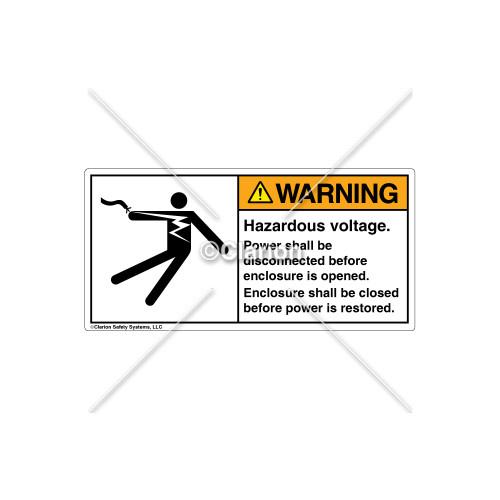 Warning/Hazardous Voltage Label (5025-AHWHPL)