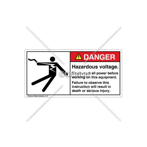 Danger/Hazardous Voltage Label (5025-GEDHPL Blk)