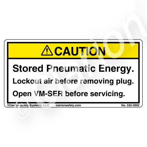 Caution/Stored Pneumatic Energy Label (532-3002)