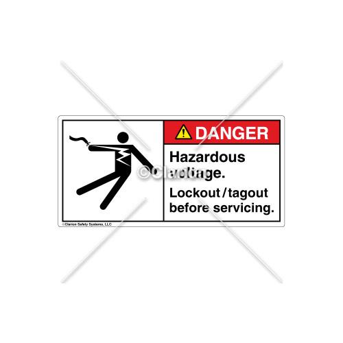 Danger/Hazardous Voltage Label (5025-N4DHPL Wht)