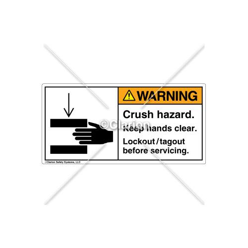 Warning/Crush Hazard Label (1179-M9WHPL Wht)