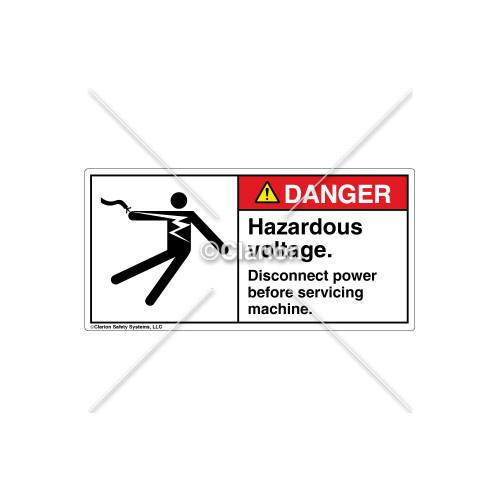 Danger/Hazardous Voltage Label (5025-24DHPL Blk)