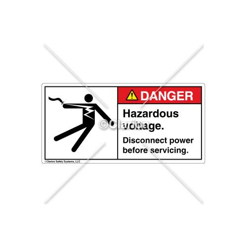 Danger/Hazardous Voltage Label (5025-18DHPL Wht)