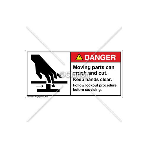 Danger/Moving Parts Label (1025-388DHPL Wht)