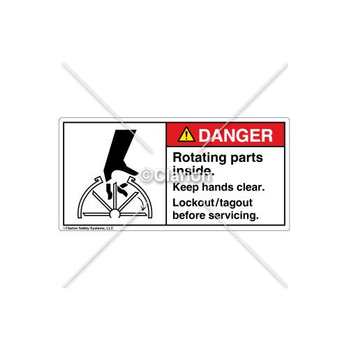 Danger/Rotating Parts Inside Label (1101-SCDHPL Wht)