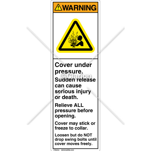 Warning/Cover Under Pressure Label (C8400-16)