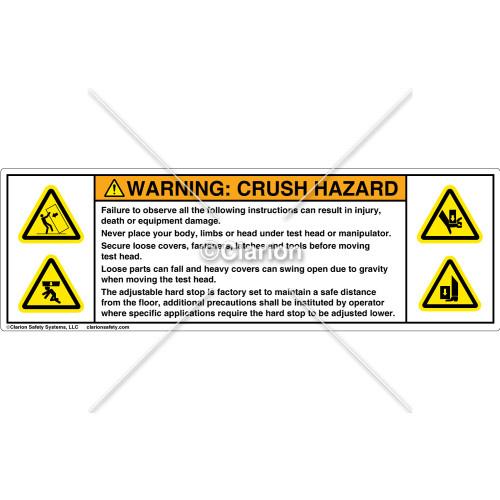 Warning/Crush Hazard Label (8440-11WHPS)