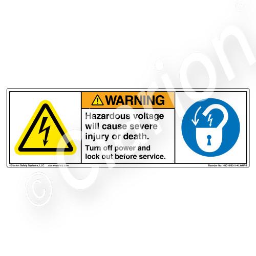 Warning/Hazardous Voltage Label (H6010/6011-4LWHPS)