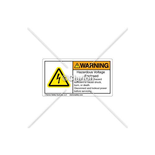 Warning/Hazardous Voltage Enclosed Label (EH01S298)