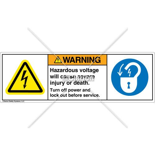 Warning/Hazardous Voltage Label (H6010/6011-4LWHPT)