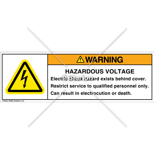 Warning/Hazardous Voltage Label (H6010-876WHPT)