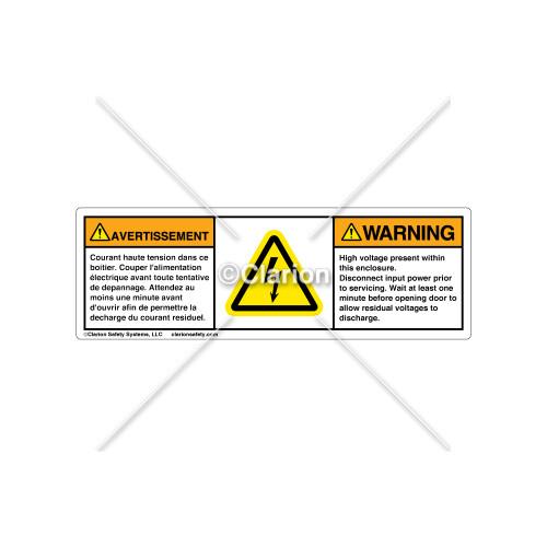 Warning/High Voltage Present Label (BFH6010-HMWHPT)