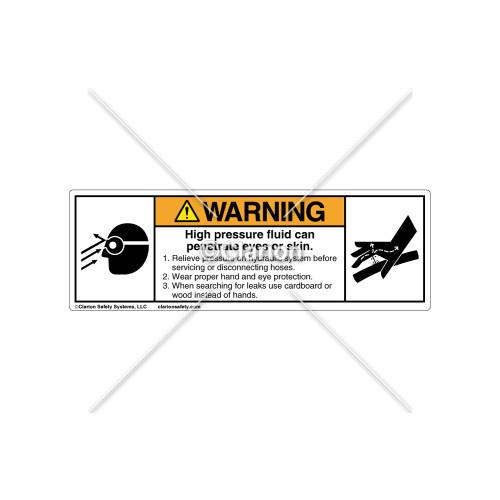 Warning/High Pressure Fluid Label (8300-04WHBT)