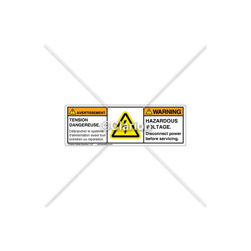 Warning/Hazardous Voltage Label (BFC-H6010-18WHPU)