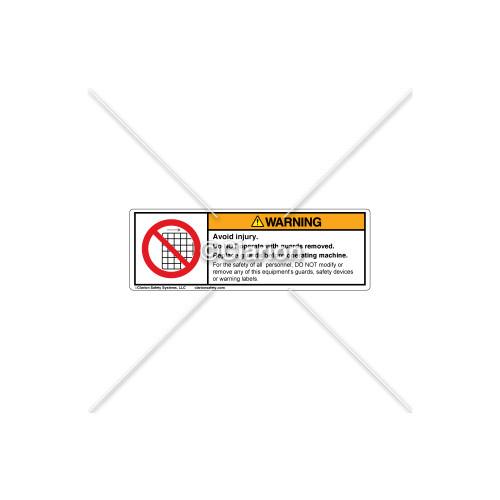 Warning/Avoid Injury Label (H6060-P81WHPU)