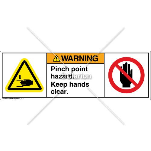 Warning/Pinch Point Hazard Label (H1105/6008-G3WHPU)