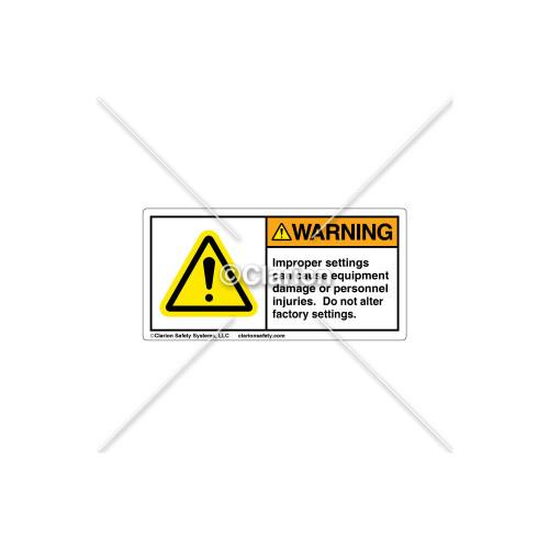 Warning/Improper Settings Label (H6014-384WHPL)
