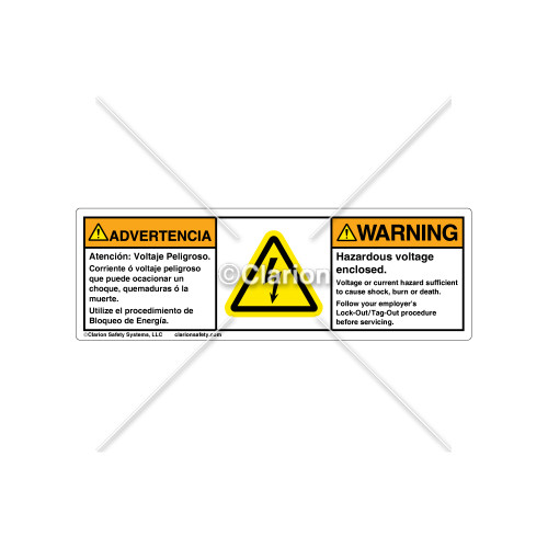 Warning/Hazardous Voltage Label (BSM-H6010-FA8WHPT)