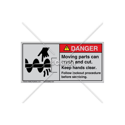Danger/Moving Parts Label (1050-388DHTJ Wht)