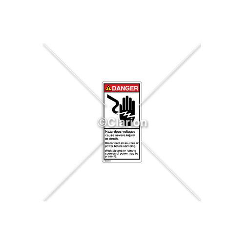 Danger/Hazardous Voltages Label (1023-90DVPL Wht)
