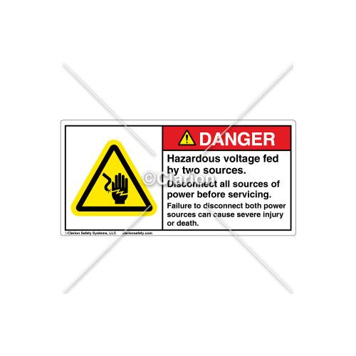 Danger/Fed By Two Sources Label (H1023-C97DHPJ)