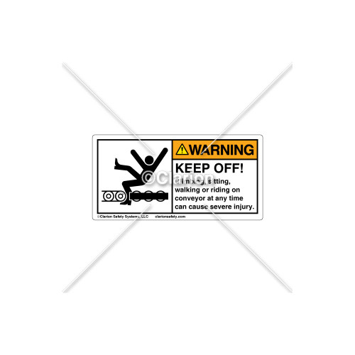 Warning/Keep off Conveyor Label (5015-Y2WHPK Wht)