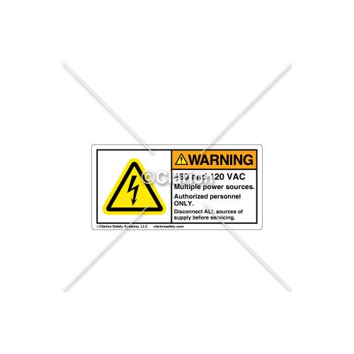 Warning/460 and 120 VAC Label (C18486-24)