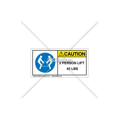 Caution/2 Person Lift Label (C18486-18)