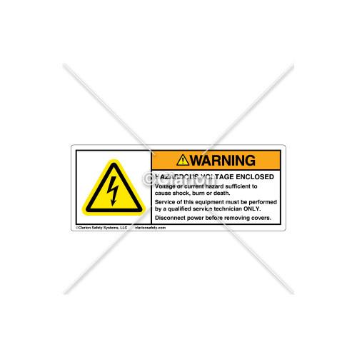 Warning/Hazardous Voltage Enclosed Label (C7476-05)