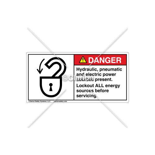 Danger/Hydraulic Pneumatic Label (6013-T8DHPJ Wht)